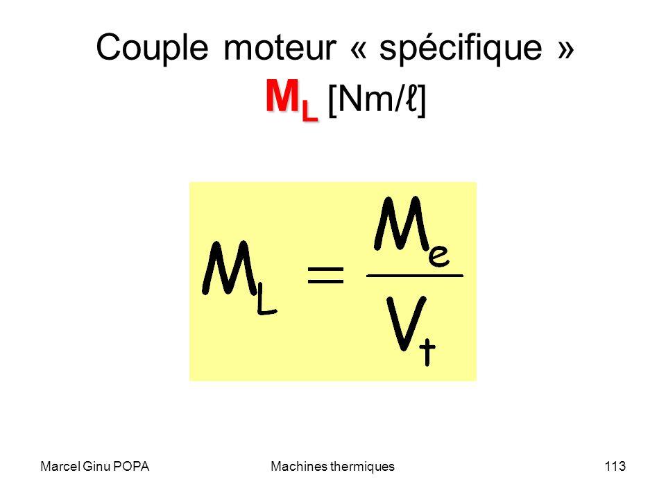 Couple moteur « spécifique » ML [Nm/ℓ]